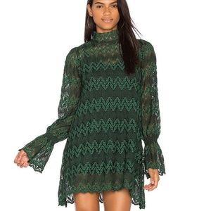 free people green lace dress large